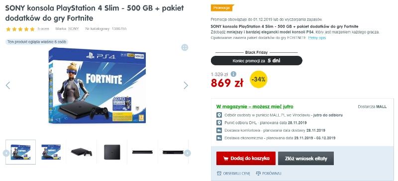 oferta black friday na PS4 slip 500 GB